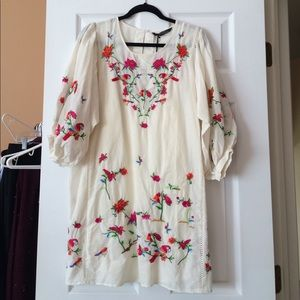 NWT Zara Cream Embroidered Dress Size S